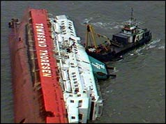 The Herald of Free Enterprise the day after the capsize