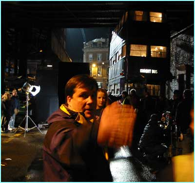 Our exclusive pix are from the filming of HP3 at London's Borough Market, with the Knight Bus outside the Leaky Cauldron.