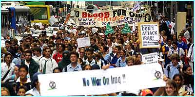 In Sydney, thousands marched down the streets with their banners - most of them were still in uniform!