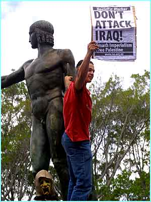 One boy makes sure his feelings about the Iraq crisis are heard!