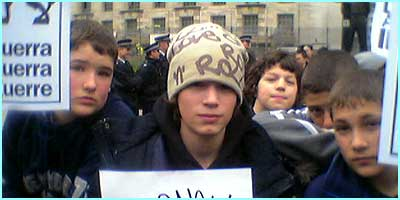 Over 500 kids from schools all over London marched down to Number 10 Downing Street to protest against war, like Tom, 14