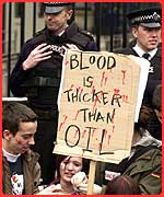 Students protesting outside Number 10