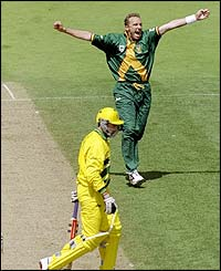 Donald takes the wicket of Damien Fleming as South Africa play Australia in the semi-final of the 1999 World Cup