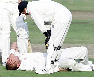 A hamstring injury brings Donald's Test career to a painful end in against Australia in February 2002