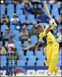 Ricky Ponting launches a six against Sri Lanka
