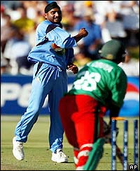 India's Harbhajan Singh celebrates the dismissal of Kenya's Kennedy Otieno