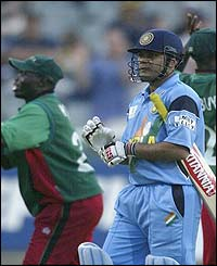 Virender Sehwag is the first victim of Kenyan's bowling attack