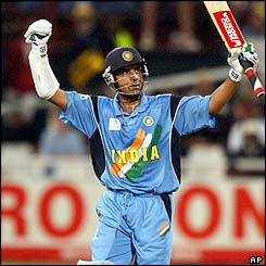 Ganguly is the star of India's innings as his unbeaten 107 sees them home