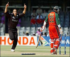 New Zealand bowler Andre Adams celebrates after bowling Zimbabwe batsman Dion Ebrahim for nought