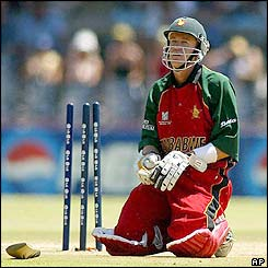 Zimbabwe batsman Andy Flower is distraught after being run out against New Zealand in the 2003 World Cup