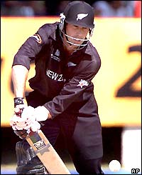 New Zealand captain Stephen Fleming hits out on his way to 46 runs