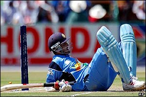India captain Sourav Ganguly narrowly survives a run out