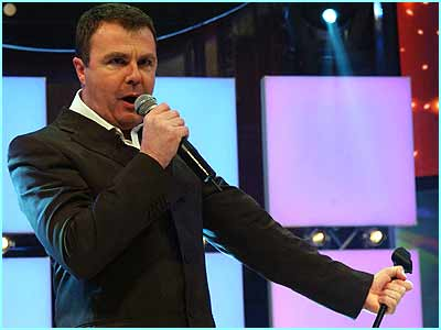 Paul Ross croons an old Frank Sinatra classic on the first night of Celebrity Fame Academy