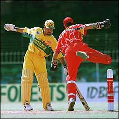 Zimbabwe wicketkeeper Andy Flower tries to stump Australia's Ricky Ponting in the 1996 World Cup