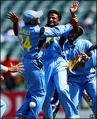 India's Javagal Srinath celebrates the dismissal of Sri Lanka's Jehan Mubarak