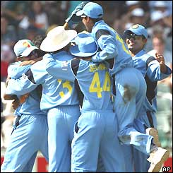 India celebrate beating Sri Lanka and reaching the World Cup semi-finals
