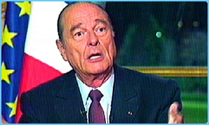French President Jacques Chirac in a TV interview