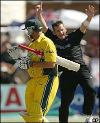 Australia's Matthew Hayden departs after being dismissed by New Zealand's Shane Bond
