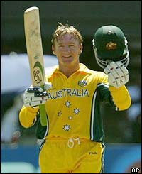 Andy Bichel celebrates scoring a half-century for Australia