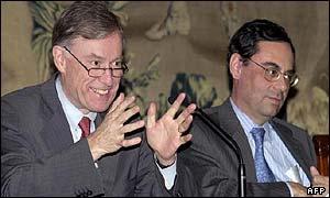 Horst Koehler y el presidente del Banco de España, Jaime Caruana.