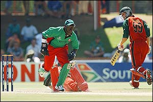 Andy Blignaut is run out by Kenya's Kennedy Otieno