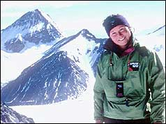 Alison Hargreaves with backdrop of mountains