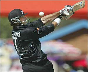 New Zealand captain Stephen Fleming tries to hook the ball