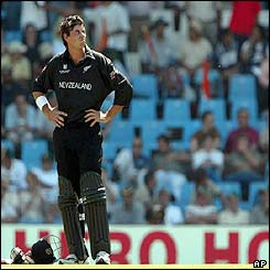 New Zealand captain Stephen Fleming looks up at the scoreboard as another batting partner falls victim to the Indian pace attack