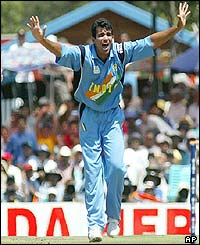 India's Zaheer Khan appeals unsuccesfuly for a wicket