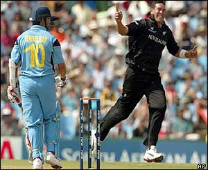 India's Sachin Tendulkar is dismissed by Daryl Tuffey