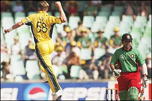 Brett Lee jumps for joy after claiming the wicket of Kenyan batsman Brijal Patel