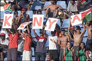 Kenya fans cheer on their side against Australia in Durban