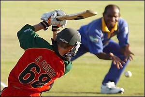 Grant Flower about to be caught and bowled by Sanath Jayasuriya