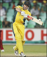 Matthew Hayden scored 20 runs before being caught at midwicket off Peter Ongondo's bowling