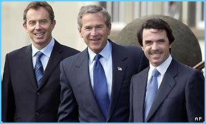 Tony Blair (left), George W Bush and Jose Maria Aznar
