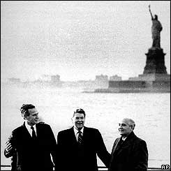 Ronald Reagan, George Bush and Mikhail Gorbachev in New York