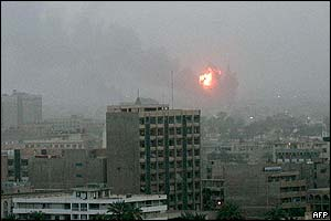 An explosion is seen in Baghdad 20 March, 2003