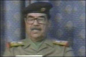 Iraqi leader Saddam Hussein speaking on Iraqi television