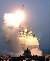 The first Tomahawk missile to be fired into Iraq is launched from USS Bunker Hill