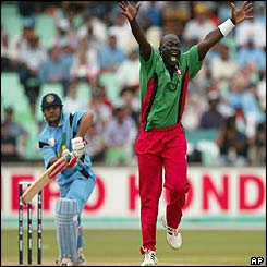 Kenyan bowler Thomas Odoyo appeals unsuccessfully for an lbw decision