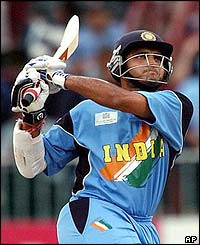 India captain Sourav Ganguly hits the ball towards the boundary