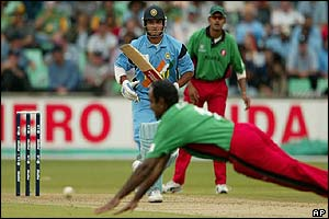 Kenyan bowler Asif Karim fails to stop a shot from India Sourav Ganguly