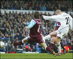 Seth Johnson scores the only goal of the game against West Ham in a 1-0 win at Elland Road