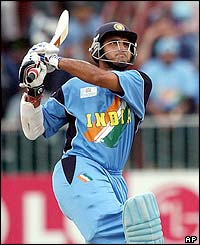 India's Sourav Ganguly hits a six during an unbeaten 111 against Kenya in the semi-finals