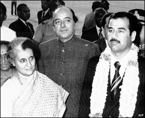 Indian PM Indira Gandhi and Saddam Hussein