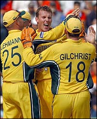 India lose their second wicket when Brett Lee takes the wicket of captain Sourav Ganguly