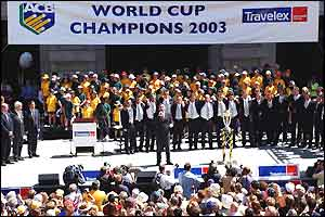 The Australian team on the stage at the presentation in Perth
