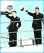 British Navy officers on the Ark Royak