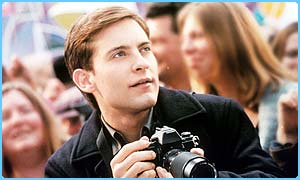 Tobey Maguire as geeky Peter Parker in Spider-Man