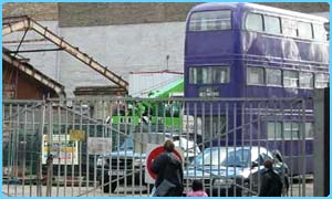 The Knight Bus is seen at the start of the Azkaban filming